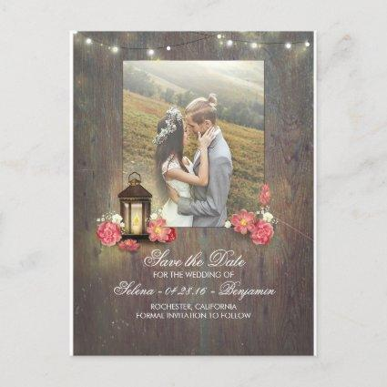 Vintage Metal Lantern and Wood Photo Save the Date Announcement