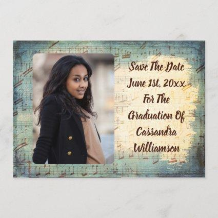 Vintage Music Graduation Photo Save The Date
