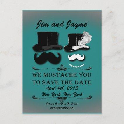 Vintage Mustache Save The Date Announcement