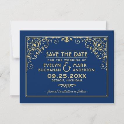 Vintage Navy Blue and Gold Art Deco Wedding Save The Date