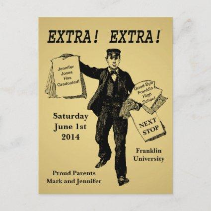 Vintage Newspaper Graduation Annoucement Announcement