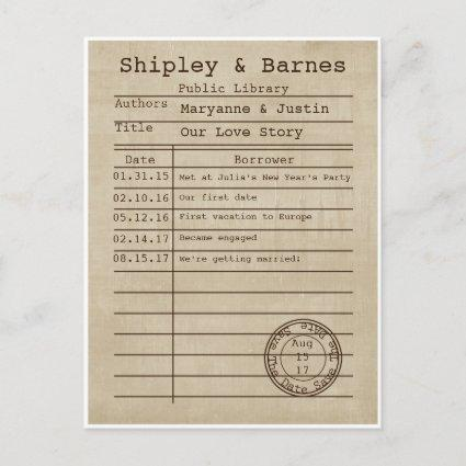 Vintage Old Time Library Cards Save The Date