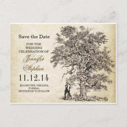 vintage old tree save the date