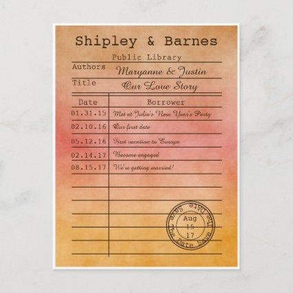 Vintage Orange Gold Library Cards Save The Date