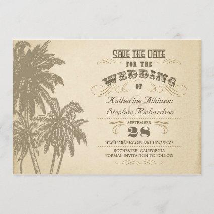 vintage palm tree typographic save the date