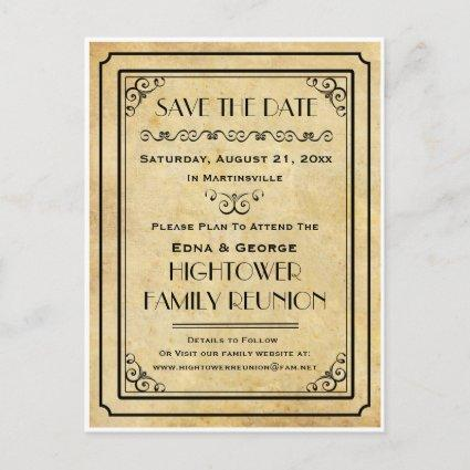 Vintage Party Family Reunion Wedding Save the Date Announcement