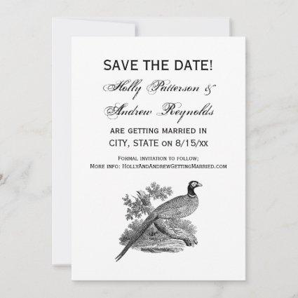 Vintage Pheasant Game Bird Drawing BW Save The Date