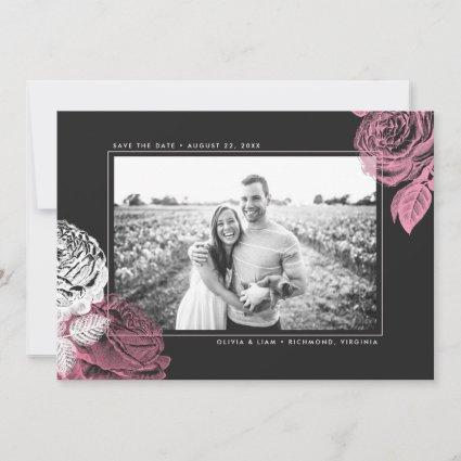 Vintage Pink and White Roses on Black Save The Date