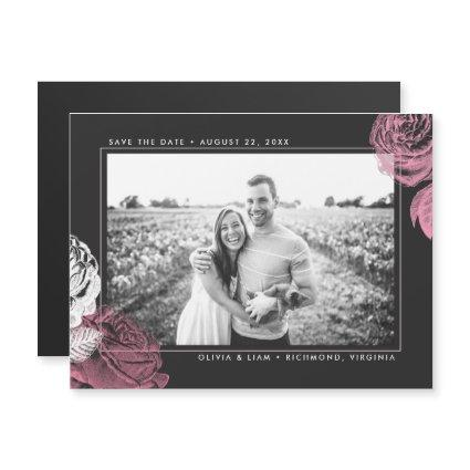 Vintage Pink and White Roses Save the Date Magnetic Invitation