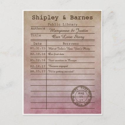 Vintage Purple Beige Library Cards Save The Date