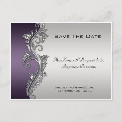 Vintage Purple Black and Silver Save The Date #2 Announcement