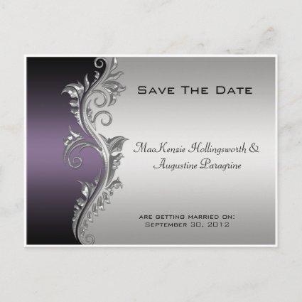 Vintage Purple Black and Silver Save The Date Announcements Cards