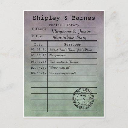 Vintage Purple Green Library Cards Save The Date