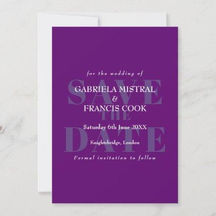 Vintage purple typographic Save the Date Card
