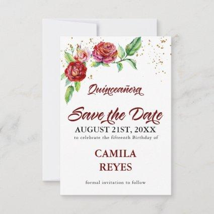 Vintage Red Roses Quinceanera Save The Date