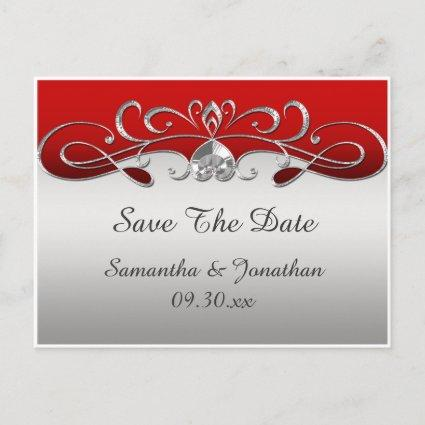 Vintage Red Silver Ornate Swirls Save The Date Announcements Cards