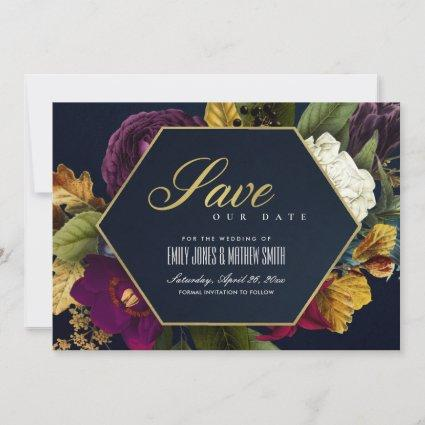VINTAGE RETRO BURGUNDY OCHRE MAROON FALL FLORAL SAVE THE DATE