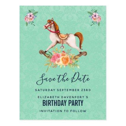 Vintage Rocking Horse with Florals Save the Date Cards