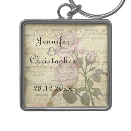 Vintage Rose and music score wedding set Keychain