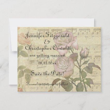 Vintage Rose and music score wedding set Save The Date