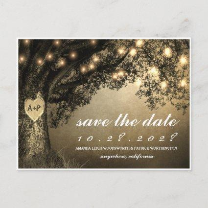 Vintage Rustic Carved Oak Tree Save The Date Cards