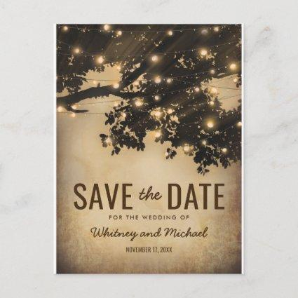 Vintage Rustic Country Tree Lights Save the Date Announcement