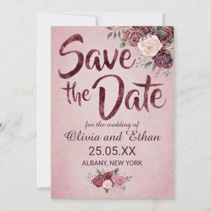 Vintage, Rustic Dusty Rose Save the Date Card