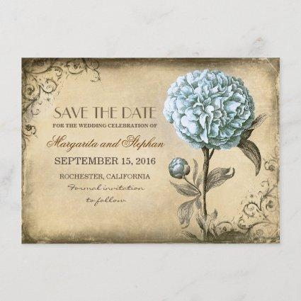 vintage rustic save the date card with blue peony