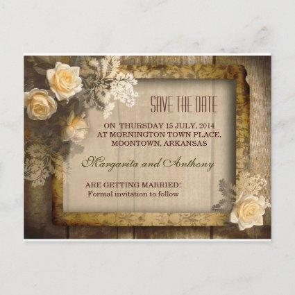vintage rustic save the date post