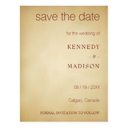 Vintage Save the Date Plain Text Sepia Wedding