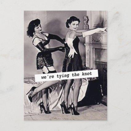 """Vintage Save the Date (Two Women) """"Tying the Knot"""" Announcement"""