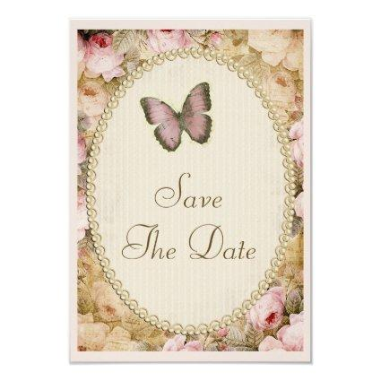 Vintage Save The Date Wedding Roses & Butterfly Invitation