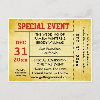 Vintage Style Wedding Event Save The Date Ticket Announcement