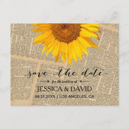Vintage Sunflower Rustic Wedding Save the Date Announcement