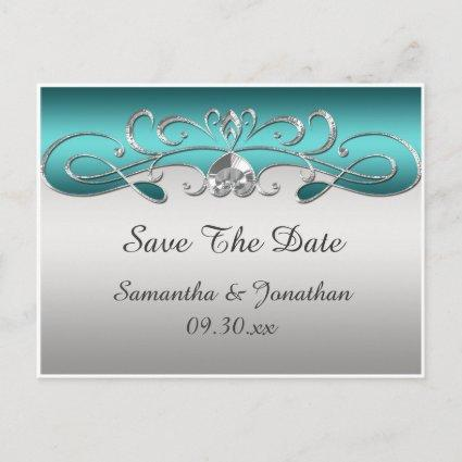 Vintage Teal Silver Ornate Swirls Save The Date Announcements Cards