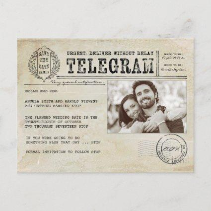 Vintage Telegram Old Aged Save the Date Photo Announcement
