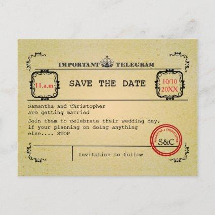 Vintage telegram wedding save the date Announcements Cards