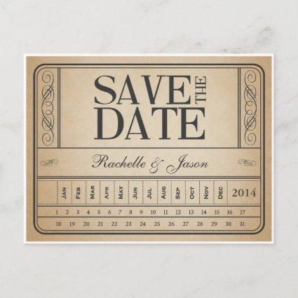 Vintage Ticket II -- Save the date punch out Announcement