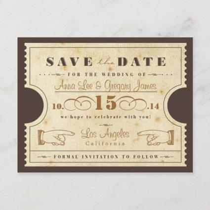 Vintage Ticket Save the Date Cards