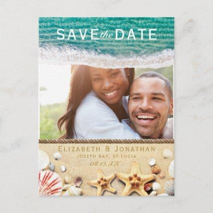 Vintage Tropical Beach Starfish Save the Date Announcement