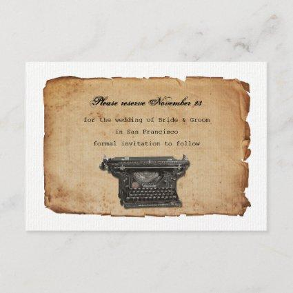 Vintage Typewriter Parchment Save the Date