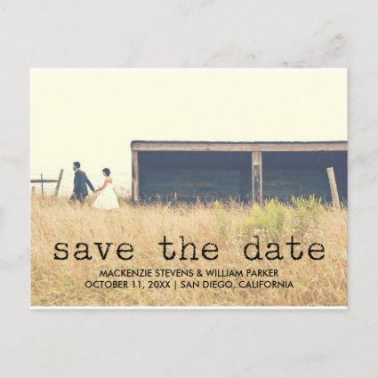 Vintage Typewriter Text Photo Save the Date Announcement