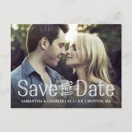 Vintage Typography Save the Date Photo Announcement