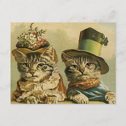 Vintage Victorian Funny Cats in Hats Save the Date