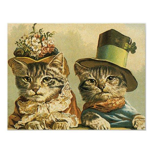 Vintage Victorian Funny Cats in Hats Save the Date 4.25x5.5 Paper Invitation Card