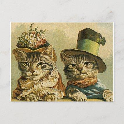 Vintage Victorian Funny Cats in Hats Save the Date Announcement