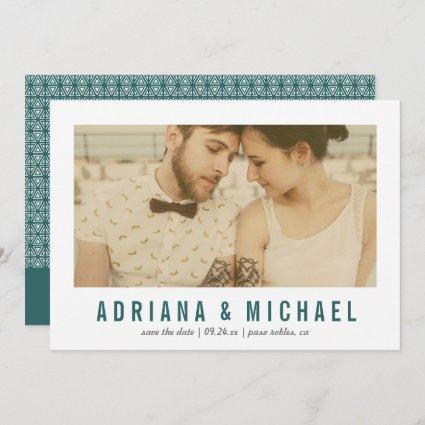Vintage Vision Modern Pattern Photo | Teal Save The Date