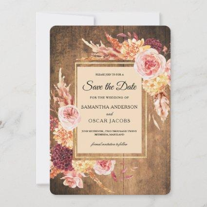 Vintage Watercolor Flowers Golf Frame With Wood Save The Date