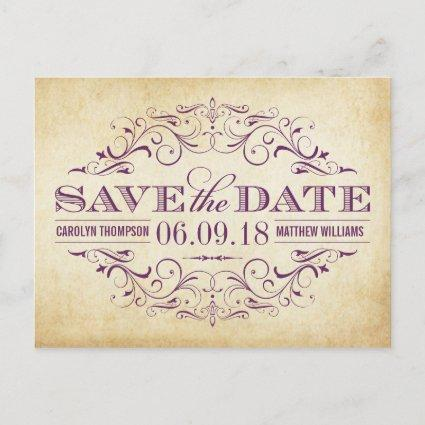 Vintage Wedding Save the Date | Swirl and Flourish Announcements Cards