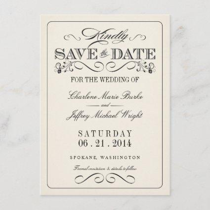 Vintage White Elegant Save the Date